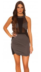 Sexy Koucla dress with net-applications Grey