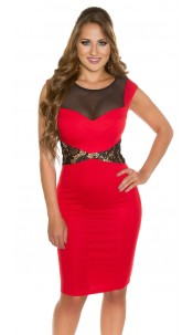 Sexy KouCla sheath dress with lace and mesh Red