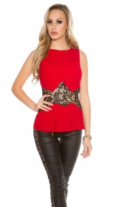 Elegant Koucla top with lace transparent Red