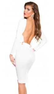 SexyKoucla long-sleeve dress backless Cream