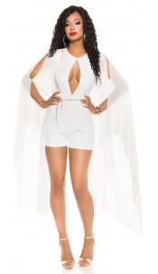 Sexy KouCla playsuit with chiffon sleeves + Belt White