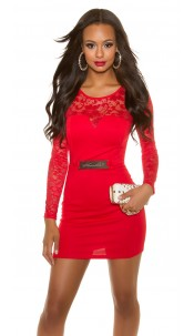 Sexy KouCla long sleeve shift dress with lace Red