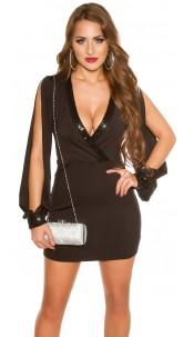 Sexy KouCla mini dress with sequins & arm slit Black