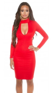 sheath dress with sexy Dekoltee Red