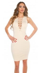 Sexy KouCla Sheath Dress with Sexy Lacing Beige