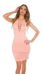 Sexy KouCla Sheath Dress with Sexy Lacing Salmon