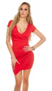 Sexy KouCla short sleeve mini dress asymmetrical Red
