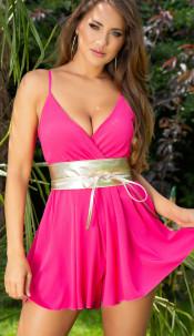 Sexy zomer jumpsuit met spaghetti bandjes roze
