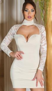 Sexy KouCla mini dress long sleeve with lace Beige