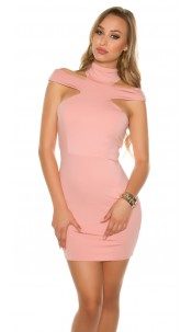 Sexy KouCla mini dress with Collar & Cut outs Antiquepink
