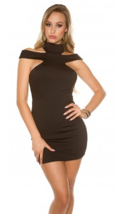 Sexy KouCla mini dress with Collar & Cut outs Black