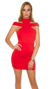 Sexy KouCla mini dress with Collar & Cut outs Red