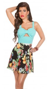 Sexy KouCla summerdress with cut outs & flowers Mint