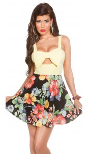 Sexy KouCla summerdress with cut outs & flowers Yellow