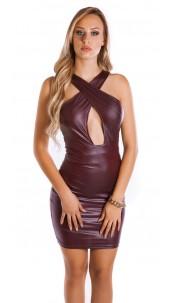 Sexy KouCla Wet look Mini dress Bordeaux