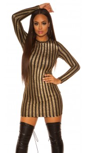 Sexy KouCla long sleeve mini dress w. shiny thread Blackgold