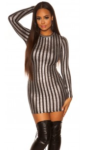 Sexy KouCla long sleeve mini dress w. shiny thread Blacksilver