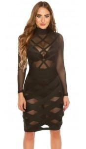 Sexy KouCla mini dress in bondage look Black