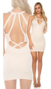 Sexy KouCla Neck Mini Dress with Sexy Cutouts Beige