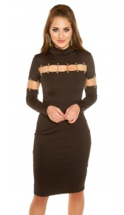 Sexy KouCla shift dress with deco chains Black