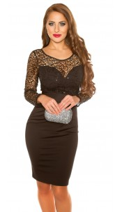 Sexy koucla partydress with lace & sequins Black