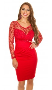 Sexy koucla partydress with lace & sequins Red