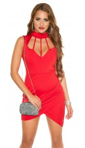 Sexy KouCla Neck Mini dress Sling Dekollete Red
