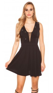 Sexy Party Glitterdress V-Cut Black