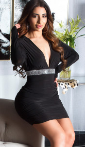 Sexy KouCla minidress w. XXL V CUT& rhinestones Black