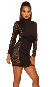 Sexy KouCla Neck mini dress with lace Black