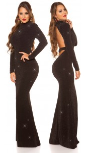 Sexy Red-Carpet KouCla Neck Evening Gown WOW! Blacksilver