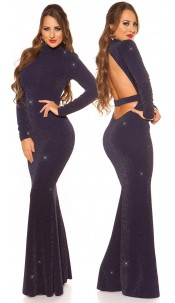 Sexy Red-Carpet KouCla Neck Evening Gown WOW! Navy