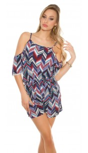 Sexy Coldshoulder Playsuit Zig Zag Pattern Blue