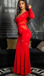 Trendy Koucla evening gown with mesh Redsilver