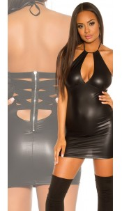 Sexy KouCla Latex Look Mini Dress Black