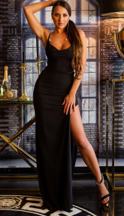 Sexy KouClaMaxi evening gown with WOW!back cutout Black