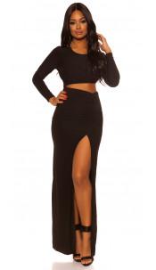 Sexy Koucla Party Dress with XXL Leg Slit Black