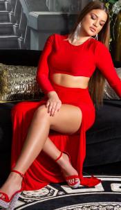 Sexy Koucla Party Dress with XXL Leg Slit Red