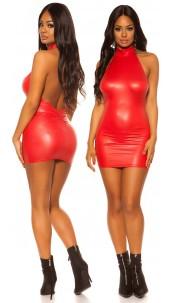 Sexy KouCla Wetlook Neck Minidress Red