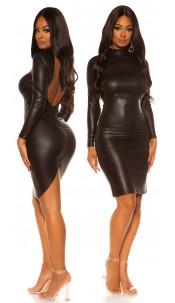Sexy KouCla Wetlook Mini dress with sexy back Black