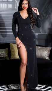 Sexy KouCla RedCarpet Glitter Kleid w. leg slit Blacksilver