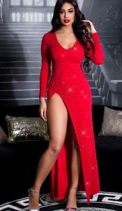 Sexy KouCla RedCarpet Glitter Kleid w. leg slit Redsilver