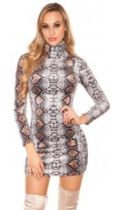 Sexy Turtleneck Long pulloverMini dress Snake