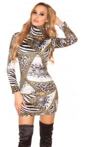 Sexy Turtleneck Long pulloverMini dress Zebra