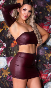 Sexy Koucla Wetlook One-Shoulder Dress Bordeaux