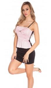 Sexy KouCla carrier mini dress w. peplum, striped Coral