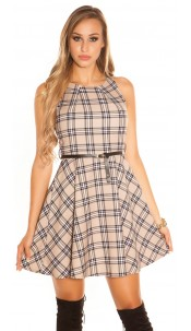 Sexy skater dress checkered with belt Check