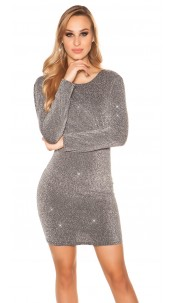 Sexy Glitter longsleeve party dress Silver
