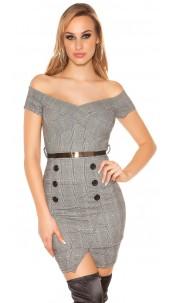 Trendy business look dress plaid with belt Blackwhite