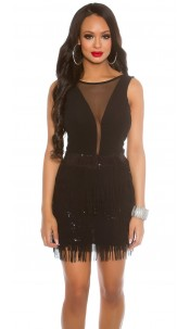 Sexy Koucla-Mini-Partydress with fringes Black